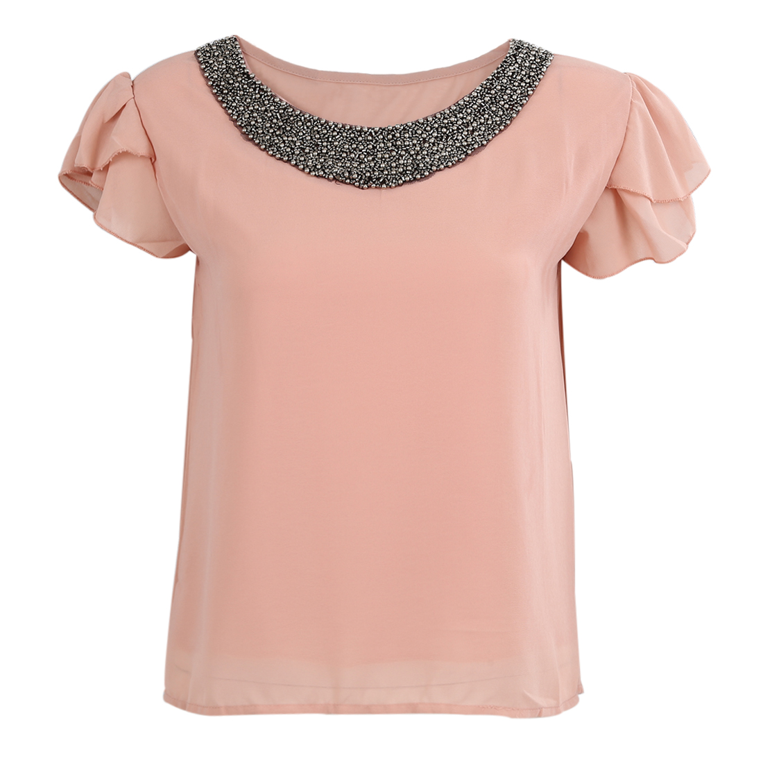 fashion women chiffon casual vintage Beading O-neck Pullover <font><b>shirts</b></font> <font><b>Nude</b></font> <font><b>pink</b></font>