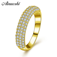 AINUOSHI 14K Gold Pave Setting Half Eternity Ring 14K Solid Yellow Gold SONA Diamond Engagement Wedding Cluster Ring Jewelry