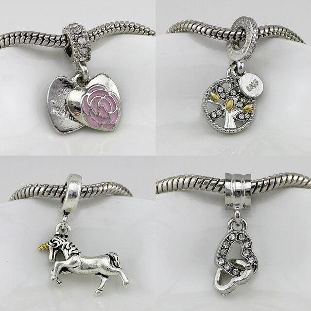Fit Pandora Charms Bracelets licorne fleur arbre de vie aimer coeur Charme  Cristal Femmes Bricolage Bijoux