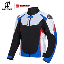 SCOYCO Motorcycle Jacket Protective Gear Summer Breathable Motocross Jacket Men Reflective Moto Jacket Clothing Black