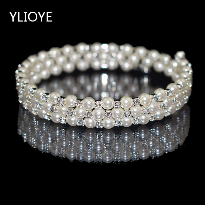 Elegant Crystal Imitation Pearl Bracelet Multilayer Stretchable Pearl Bracelet Pearl Bracelet for Women Bridal Jewelry Gift