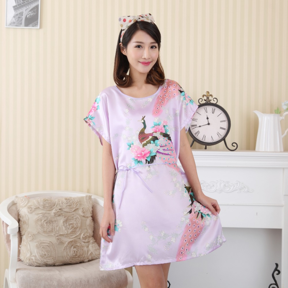 Hot Sale Print Women Faux Silk Robe Dress Summer New Sleepshirt Casual Nightgown Kimono Bath Gown Peacock&Flower One Size S0123