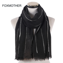FOXMOTHER New Fashion Shiny Black Grey Color Striped Scarves Fringe Muslim Shawl Shimmer Glitter Wrap Head Hijab Scarfs Women fringe detail striped glitter mesh top
