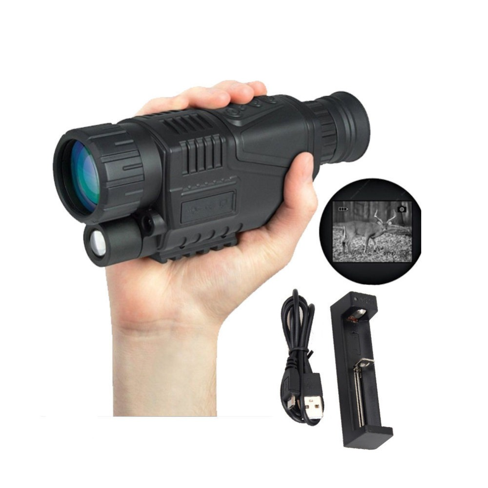 Infrared digital Night vision monocular scope 5x40 for 200 Meter,, IR, 5MP digital camera video in CCD monocular night vision infrared digital scope for hunting telescope long range with built in camera shoot photo recording video