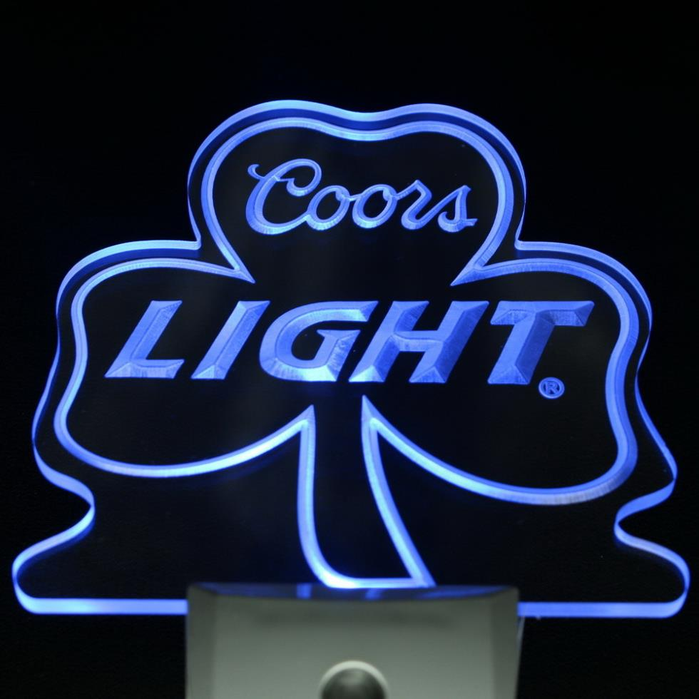 ws0003 Coors Light Shamrock Bar Beer Decor Day/ Night Sensor LED Night Light Sign