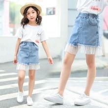 Fashion Sexy Casual Girl Jean Skirt Kids Children Layered Mesh Tulle Ruffly Denim Pencil Four Seasons Teenage Clothes