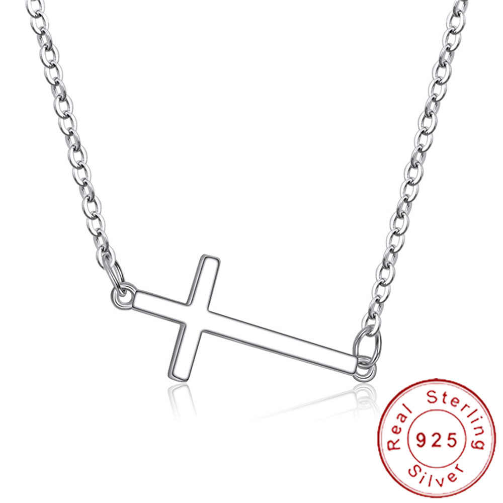 Dainty Real 925 Sterling Silver Horizontal Sideways Cross Necklace Simple Crucifix Neckless Celebrity Inspired Jewelry SN011