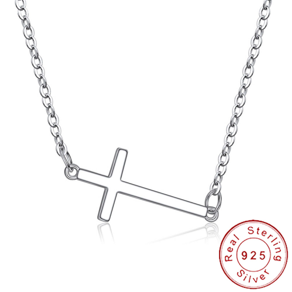 Dainty Real 925 Sterling Silver Horizontal Sideways Cross Necklace Simple Crucifix Neckless Celebrity Inspired Jewelry SN011(China)