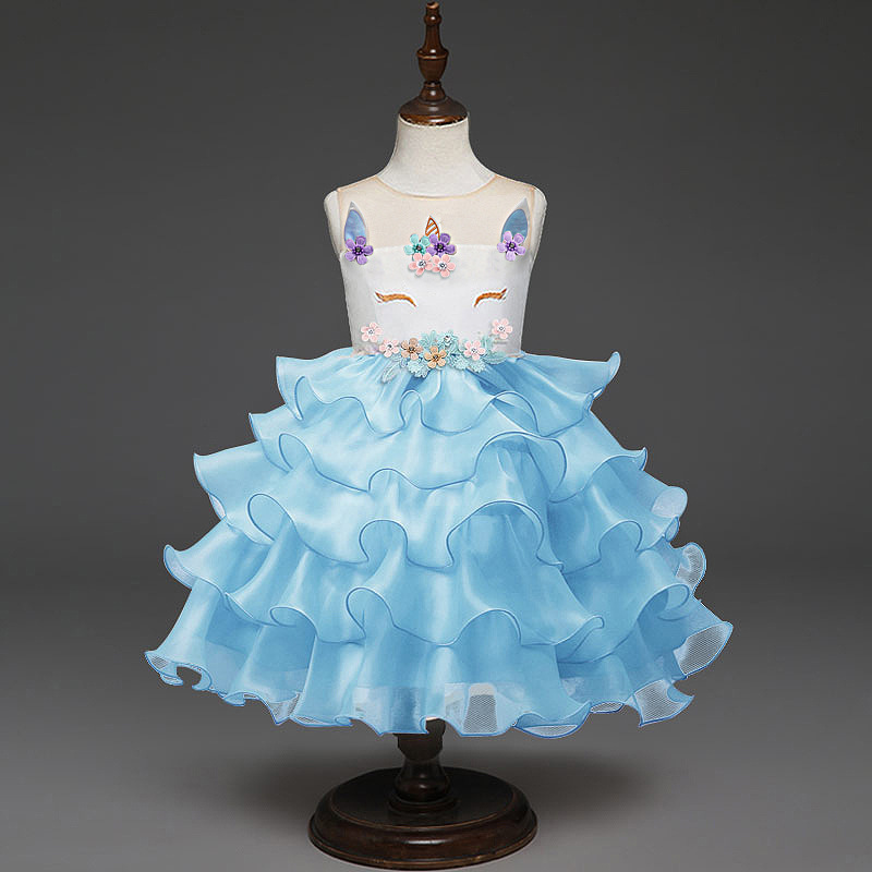 Free shipping unicorn girls sleeveless cake dress children's clothes holiday party birthday gift costume JQ-2031