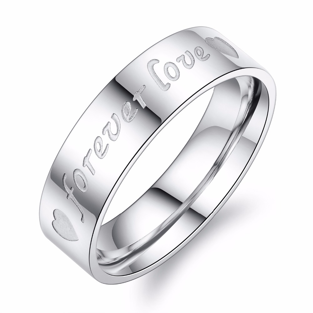 forever love stainless steel unique letter ring for man fashion jewellery wholesale best gift for family - Cheap Wedding Rings For Men