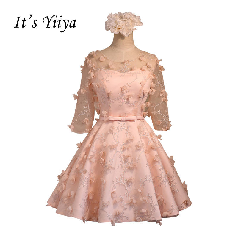 It's YiiYa Pink Half Sleeve Transparent Neck   Cocktail     Dresses   Above Knee Appliques Illusion Lace Party Simple Formal   Dress   BF013