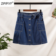 Bigsize Summer Spring Womens Vintage A-line Skirt Front Button Wrap Denim Skirt Female Ladies Casual Falda Blue Color Solid B006(China)