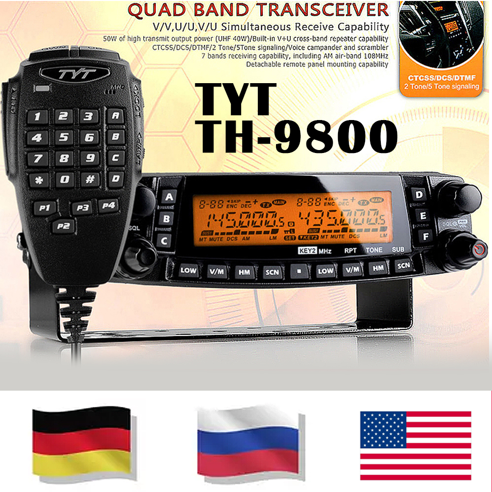 BIG SALG !! TYT TH-9800 Pro 50W 809CH 1801A Dual Display Repeater Scrambler VHF UHF Transceiver Bil Truck Vehicle Two Way Radio