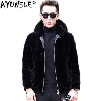 AYUNSUE Real Fur Coat Autumn Winter Jacket Men Sheep Shearing Wool Coats Plus Size Short Hooded Men's Jackets 1772 KJ832