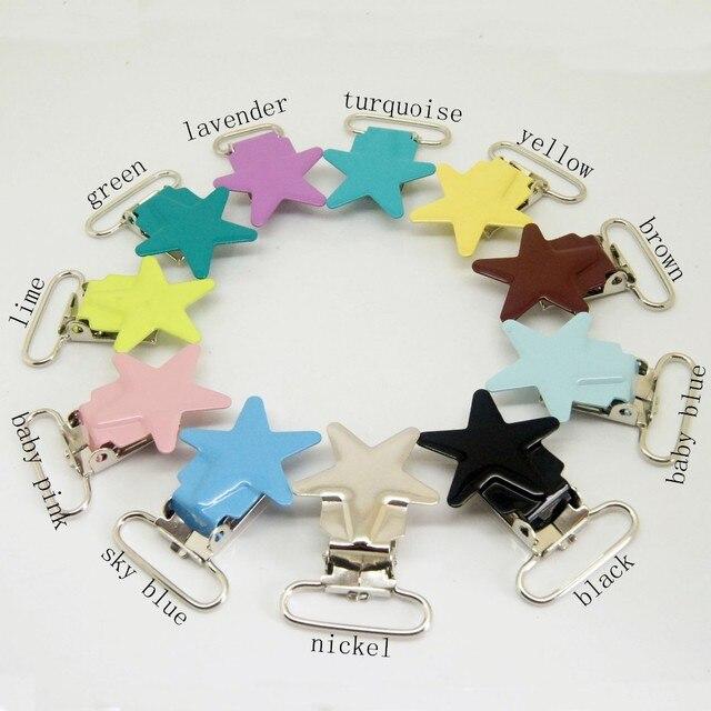 Clips de sucette en métal 20 pièces par lot | clips de sucette en étoile, clips de sucette de couleurs mélangées, clip de support pour bébé