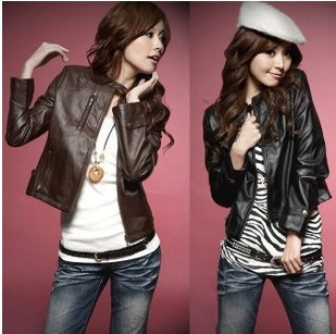 2012 autumn outerwear fashion stand collar slim short design long-sleeve leather clothing motorcycle PU wallet