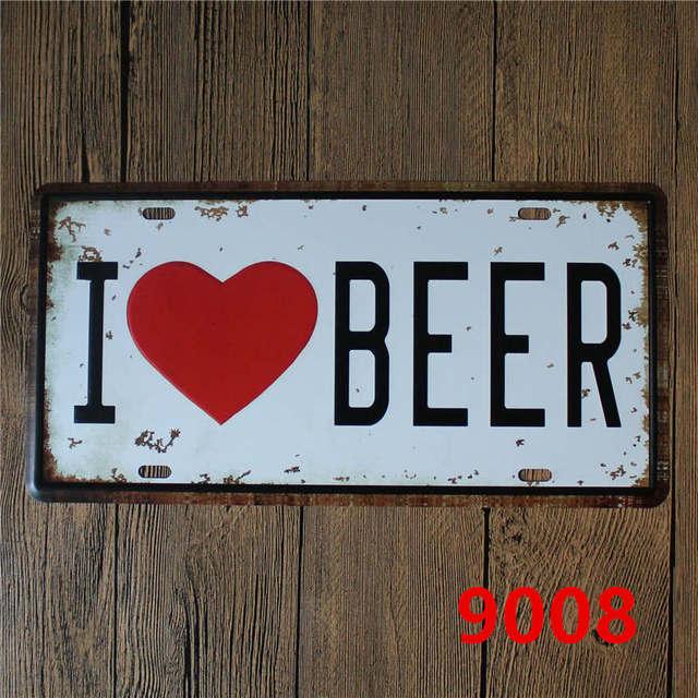 """""""I Love Vodka/Beer/Whiskey"""" Tin Sign 4"""