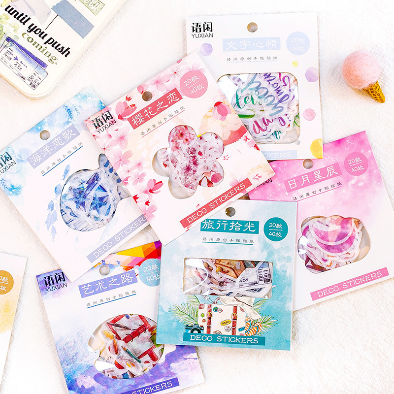 40pcs/pack Ocean Song Decorative Washi Stickers Scrapbooking Stick Label Diary Stationery Album Stickers Christmas Gift Labels