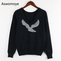 2017 Spring New Fashion Women Sweaters Full Sleeve V Neck Beaded Eagle Diamond Wool Pullovers Computer