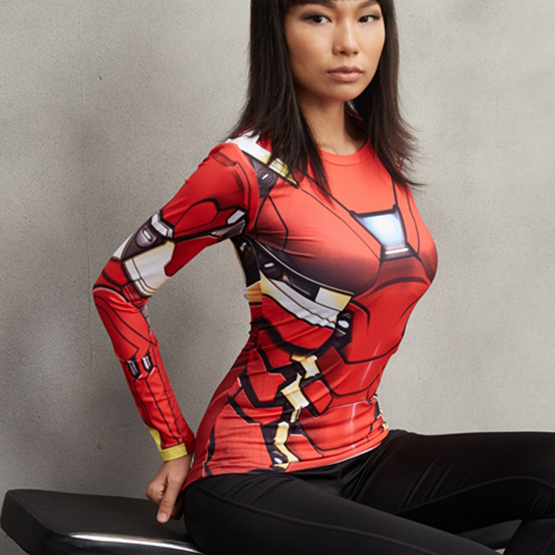 Iron Man MK46 3D Printed T shirts Women Captain America Compression Shirt Long Sleeve Tops Female