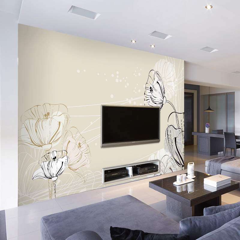 Draw 3D TV Setting Wall Seamless Adhesive Non Woven Wallpaper Murals  Sitting Room Sofa Contracted And Contemporary Mural In Wallpapers From Home  Improvement ...