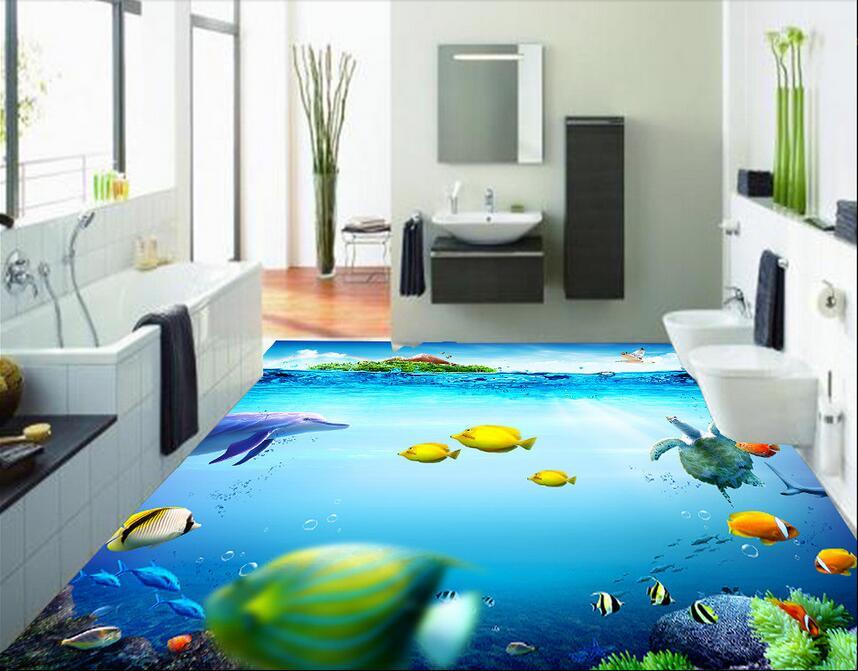 Online Shop Custom Photo 3d PVC Flooring Bedroom Waterproof Wall Paper Sticker Nature Ocean Painting Murals Wallpaper For Walls 3 D