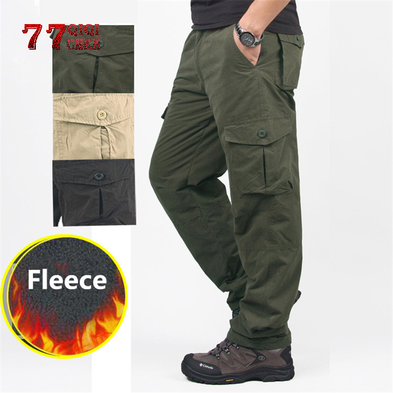 Fleece Cargo Pants Men's Winter Thick Warm Pants Double Layer Multi Pocket Casual Military Tactical Trousers Pantalon Hombre