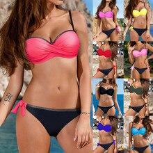 Bikini 2019 Sexy Womens Padded Push-up Bra Bikini Set Swimsuit Bathing Suit Swimwear Beachwear Sports Swimsuit Patchwork Mujer