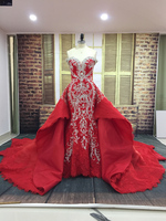 2018 Real Photos Red Wedding Dress Sweetheart Lace Beaded Dress Embroidery Luxury Mermaid Wedding Dresses With Detachable Train