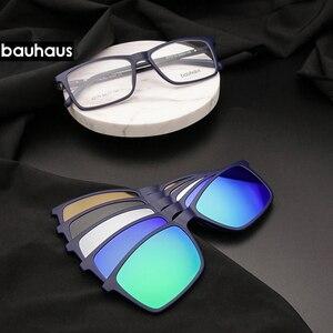 Image 1 - Bauhaus Polarized Sunglasses Men  5 In 1 Magnetic Clip On Glasses ULTEM Optical Prescription Eyewear Frames Eyeglass