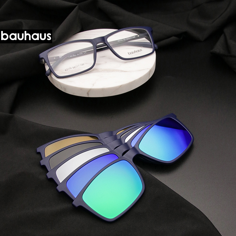 Bauhaus Polarized <font><b>Sunglasses</b></font> <font><b>Men</b></font> <font><b>5</b></font> <font><b>In</b></font> <font><b>1</b></font> <font><b>Magnetic</b></font> <font><b>Clip</b></font> <font><b>On</b></font> Glasses ULTEM Optical Prescription Eyewear Frames Eyeglass image