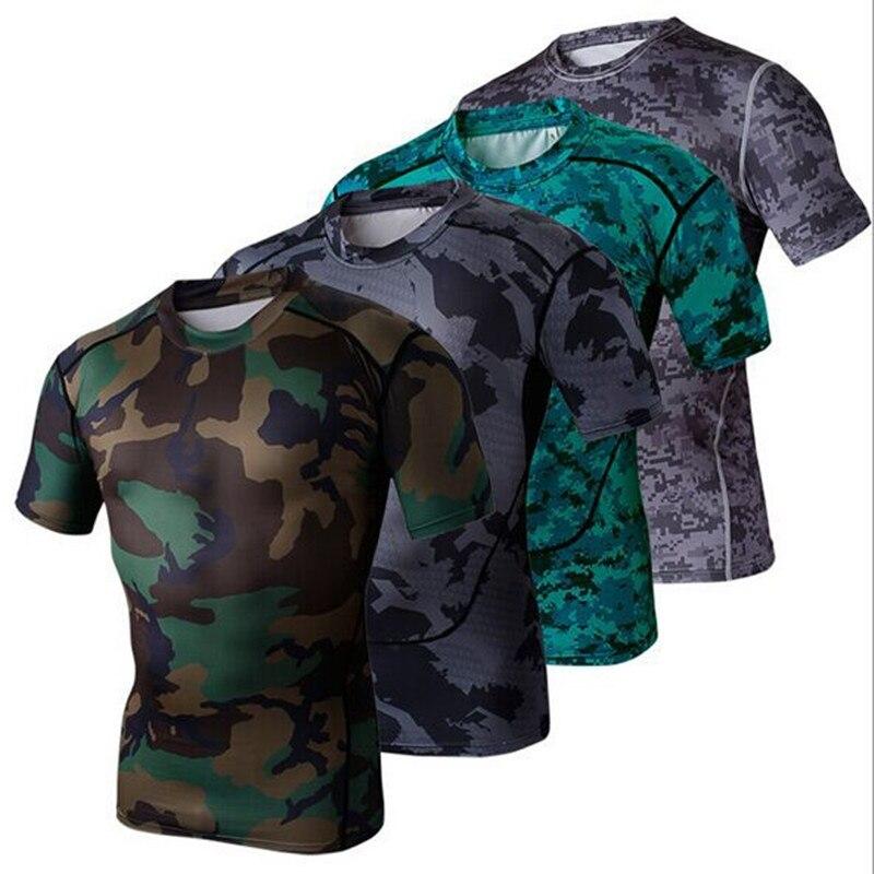 Camouflage Compression course chemises à manches courtes Fitness hommes basket-ball Gym musculation collants hommes Sport Base couche hauts