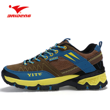 BAIDENG Men Hiking Shoes Breathable Mesh Climbing Shoes Outdoor Anti-slip Damping Trekking Shoes Sneakers Men Sapatos Masculino