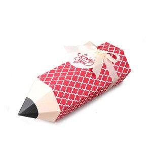 10 stks/partij Creatieve Cartoon Rood Potlood Snoep Box Voor Baby Birthday Party Gift Kleurrijke Potlood Vorm Kerst Snack Verpakking