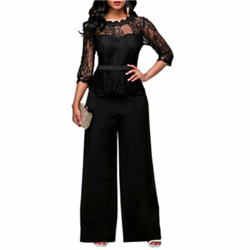 Adogirl mujeres Bodysuit negro cuello redondo 2018 elegante encaje Patchwork pierna ancha pantalones monos sueltos Manche Longue Combinaison