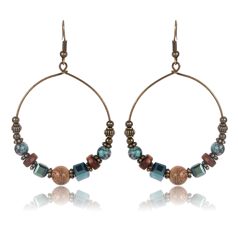 1Pair Allergy Free Handmade Round Boho Hollow Long Tassel Wooden Beads Earrings Women Fashion Jewelry Trendy Ethnic Earrings