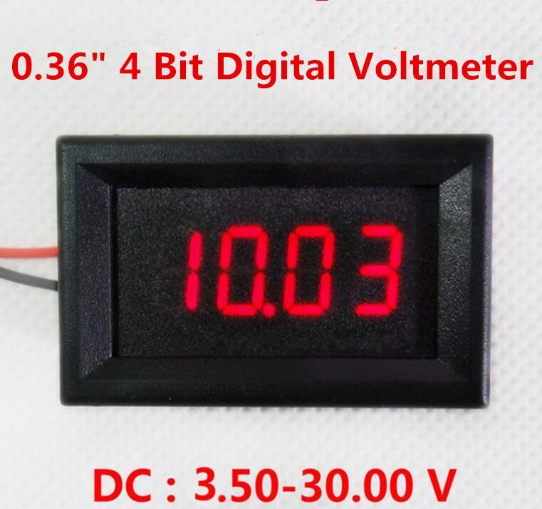 New arrival mini Red <font><b>LED</b></font> <font><b>digital</b></font> <font><b>voltmeter</b></font> 4 bit <font><b>0.36</b></font> inch Panel <font><b>Volt</b></font> <font><b>Meter</b></font> Car battery Voltage <font><b>Meter</b></font> Detector <font><b>DC</b></font> 3.50-30.00V