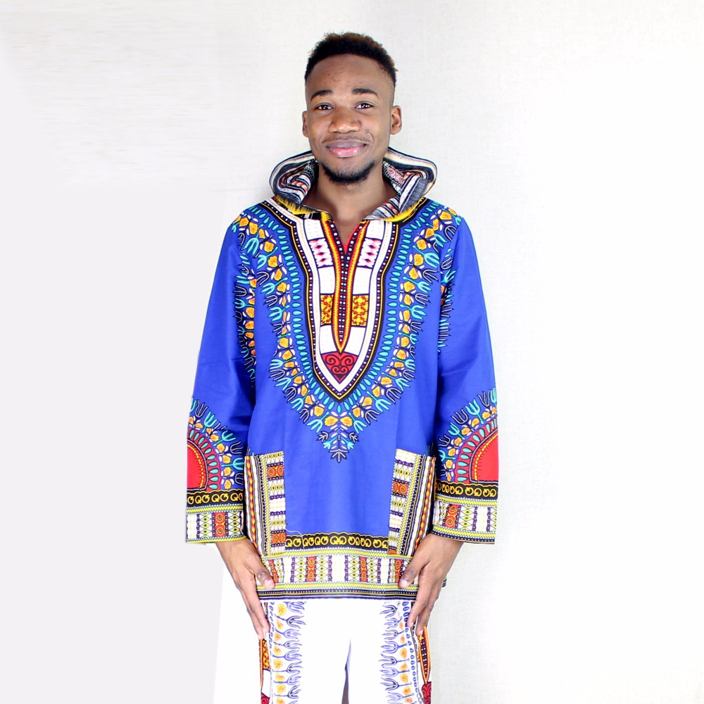 Dashikiage Pure Cotton African Dashiki Hoodie Hippie Shirt Boho Caftan Blouse Blue Top Unisex Housecoat in Africa Clothing from Novelty Special Use