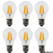 best Dimmable led filament bulb 2W 4W 6W 8W for AC120V 230V Candle Light Lamp E27 A60 Indoor Lights 4 pieces/lot Edison Bulb