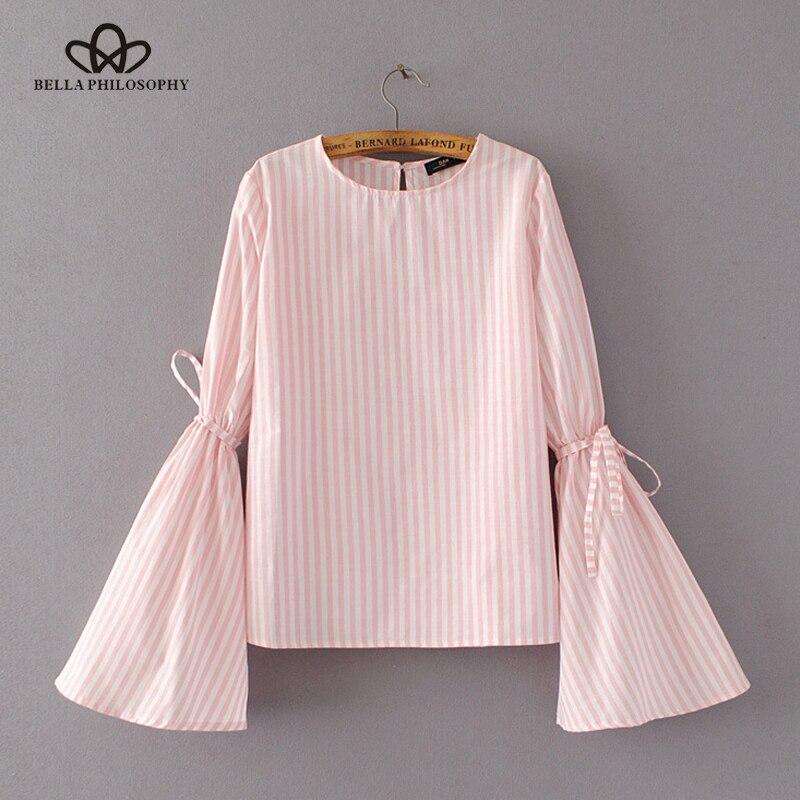 Bella filosofia nova primavera/verão feminino azul rosa listrado flares manga com gravata borboleta camisa blusa