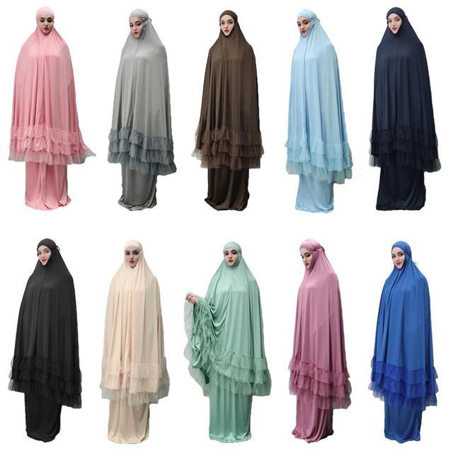 2 Piece Women Prayer Hijab Dress Dubai Muslim Khimar Jilbab Overhead Abaya Clothing Ramadan Skirt Kaftan Solid Color Set Islamic