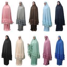 2 ชิ้นผู้หญิง Prayer Hijab ชุดดูไบมุสลิม Khimar Jilbab เหนือศีรษะ Abaya เสื้อผ้ารอมฎอนกระโปรง Kaftan สีทึบชุดอิสลาม