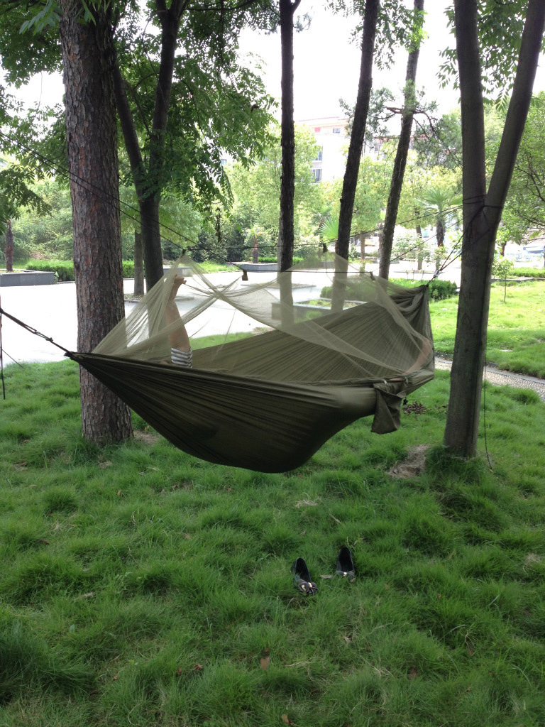 Portable High Strength Parachute Fabric Camping Hammock Hanging Bed With Mosquito Net Sleeping Hammock portable parachute fabric hammock hanging bed with mosquio net sleeping outdoor camping beds