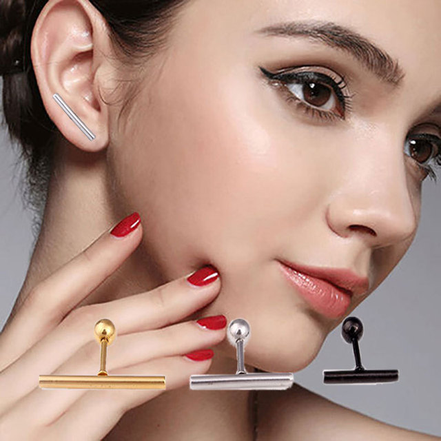 Hot Sale Fashion Women Men Punk Long Bar Earrings Silver Gold Black Titanium Steel Nail Stick.jpg 640x640 - Hot Sale Fashion Women Men Punk Long Bar Earrings Silver Gold Black  Titanium Steel Nail Stick Stud Earrings Brincos Jewelry