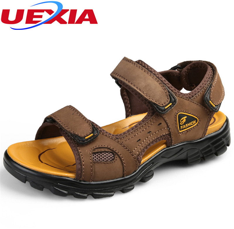 UEXIA Summer Large Size Men Sandals Leather Rubber Casual ...