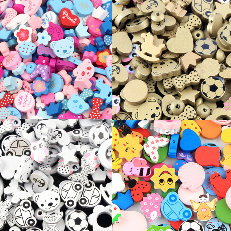 Various 50pcs Color Wood Beads 13-35mm for Baby Toys Crafts Kids Toys & Pacifier Clip Necklace DIY Wooden Spacer Beads