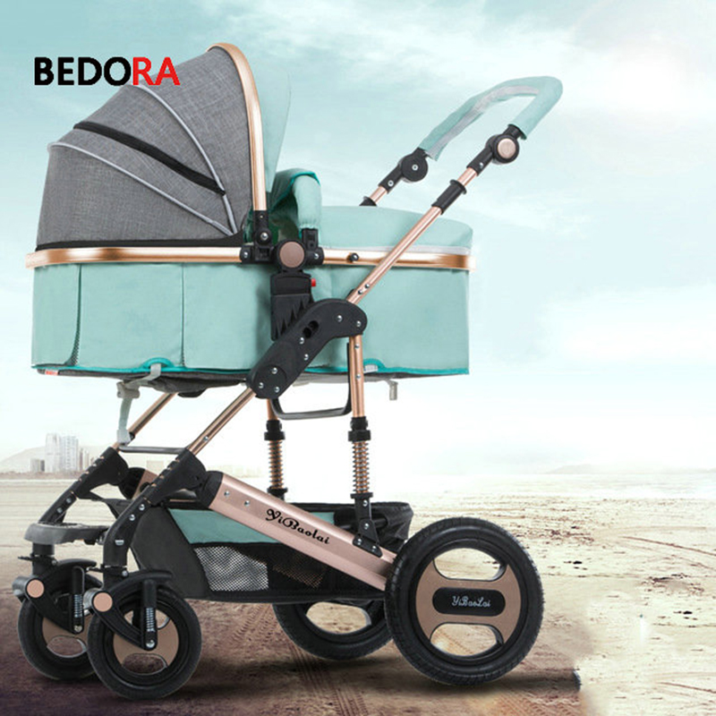 Bedora baby stroller high landscape can sit and lie down folding winter and summer seasons baby cart children's trolley цена