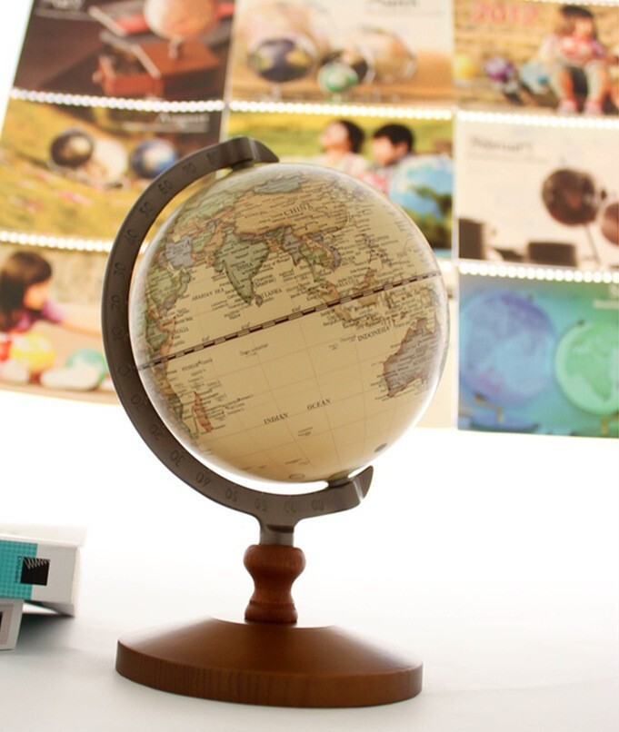 Wholesale Home Decoration Earth Globe Wood CraftGeography Teaching Unique Decorative Globe Balls