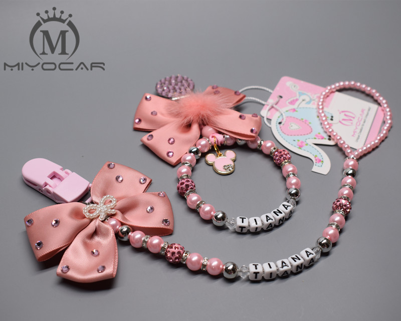 Personalised-any name set stunning pink bling pram charm/stroller toy Rattles bed toy rattle pacifier clip holder dummy clip