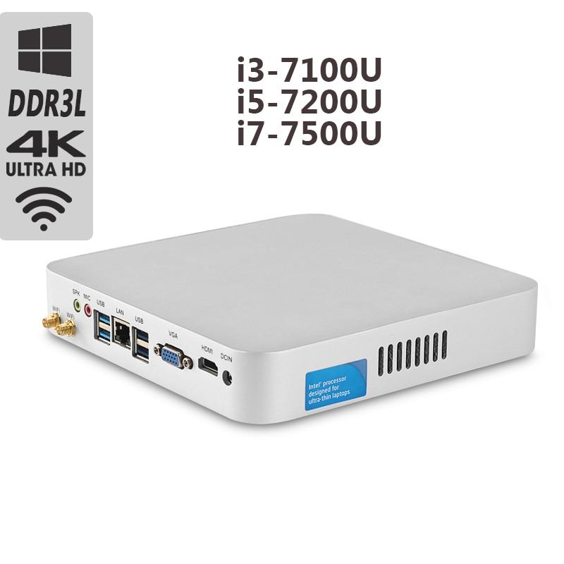 Intel Core процессор мини ПК i5 7200U i7 7500U Мини компьютер настольный i3 7100U Вентилятор охлаждения оконные рамы 10 8 Гб оперативная память 4 к компьютер